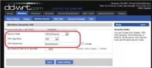 How to connect a second router wirelessly: Changing security settings on DD-WRT interface