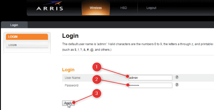 Router login process for Arris router