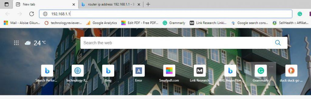 Typing the IP address on your browser to update the router's firmware