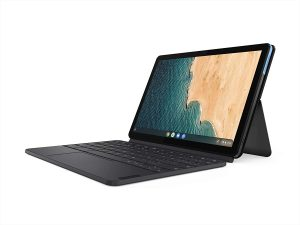 """Lenovo Chromebook Duet, 2-in-1, 10.1"""" WUXGA (1920 x 1200) Display, MediaTek Helio P60T, 4GB LPDDR4X RAM, 64GB eMCP SSD, Integrated ARM G72 MP3 Graphics, Chrome OS, ZA6F0031US, Ice Blue + Iron Grey: Affordable notebook for students"""